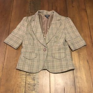 Plaid 3/4 sleeve career jacket size small